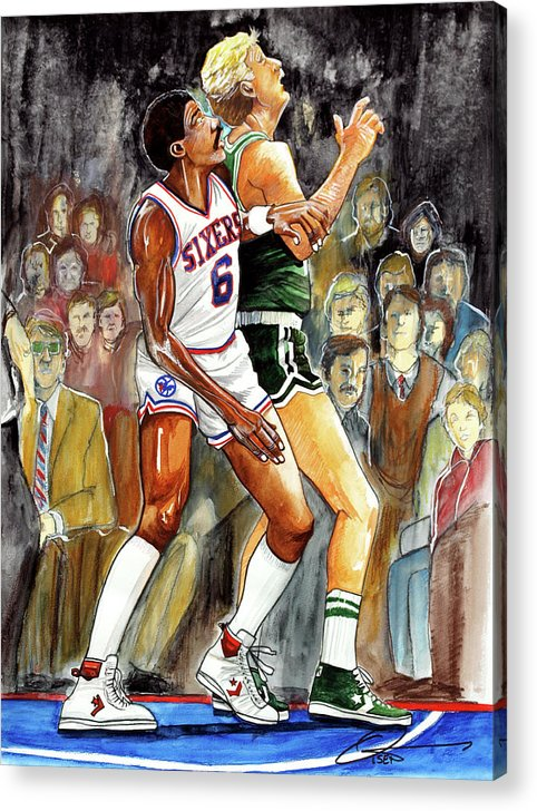Larry Bird Acrylic Print featuring the painting Dr.j Vs. Larry Bird by Dave Olsen