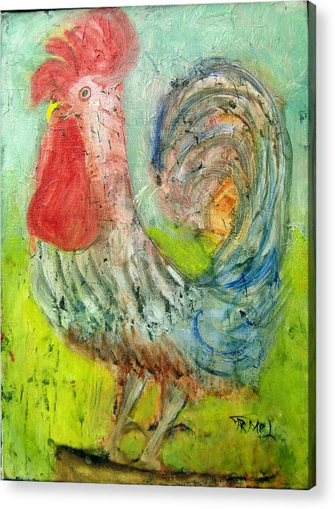 Rooster Acrylic Print featuring the painting Rooster by Fernando Armel