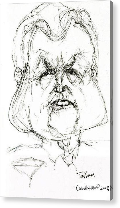 Political Cartoon Kennedy Graphite Paper Satire Acrylic Print featuring the drawing Ted Kennedy by Cartoon Hempman