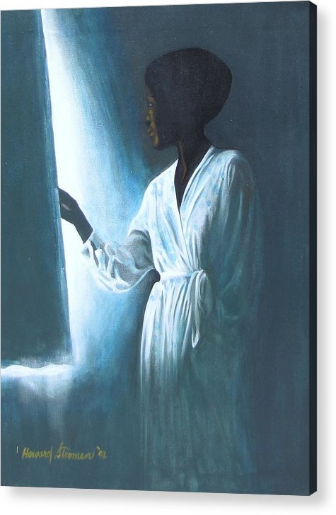 Portrait;shadow;light;figure Composition; Mood; Portrait Painting; Figure Painting Acrylic Print featuring the painting Kuliema by Howard Stroman