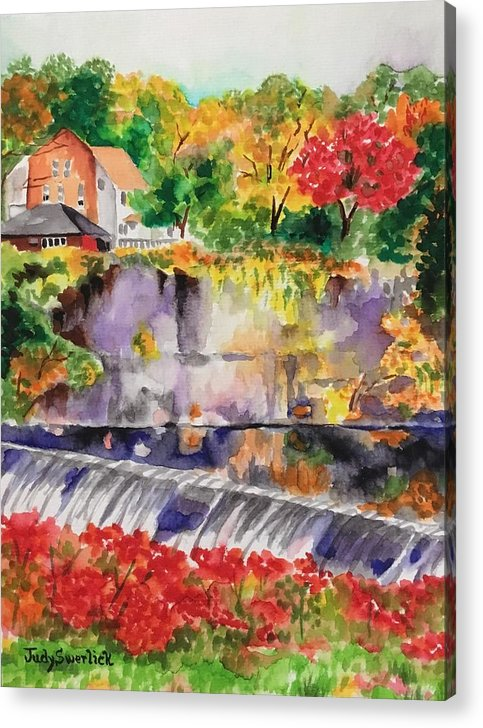 Vibrant Colors. Waterfall Acrylic Print featuring the painting Waterfall at the Old Saugerties Mill by Judy Swerlick