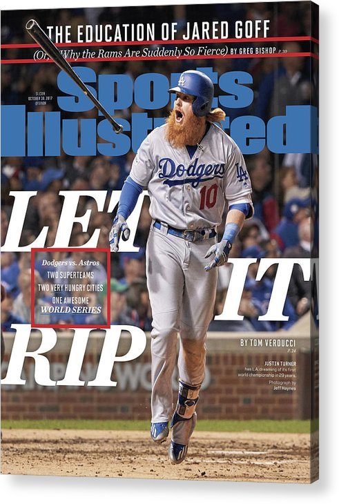 Magazine Cover Acrylic Print featuring the photograph Let It Rip 2017 World Series Preview Issue Sports Illustrated Cover by Sports Illustrated