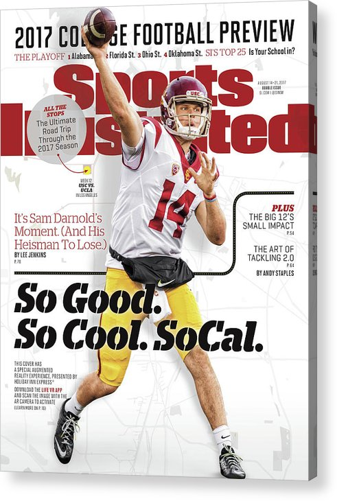 California Acrylic Print featuring the photograph University Of Southern California Sam Darnold, 2017 College Sports Illustrated Cover by Sports Illustrated