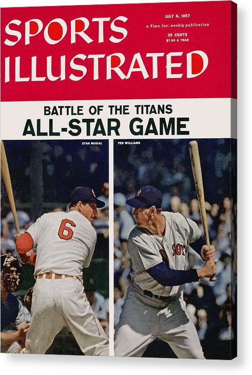 St. Louis Cardinals Acrylic Print featuring the photograph 1957 All Star Game Preview Sports Illustrated Cover by Sports Illustrated