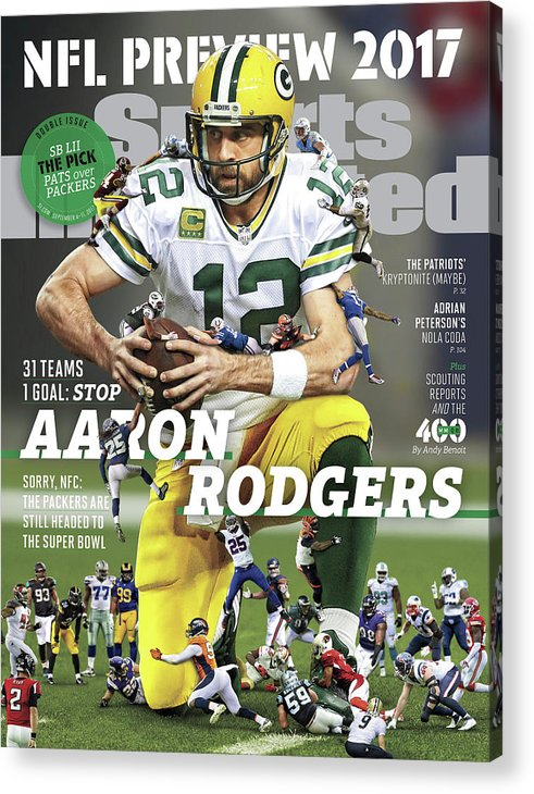 Season Acrylic Print featuring the photograph 31 Teams, 1 Goal Stop Aaron Rodgers, 2017 Nfl Football Sports Illustrated Cover by Sports Illustrated