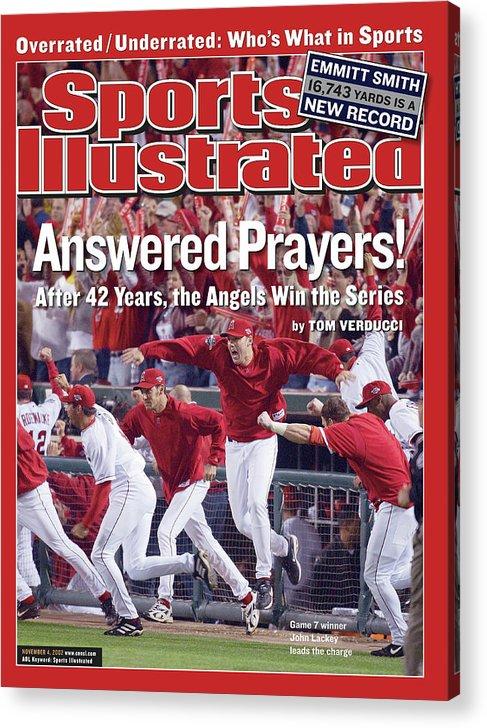 Magazine Cover Acrylic Print featuring the photograph Anaheim Angels John Lackey, 2002 World Series Sports Illustrated Cover by Sports Illustrated