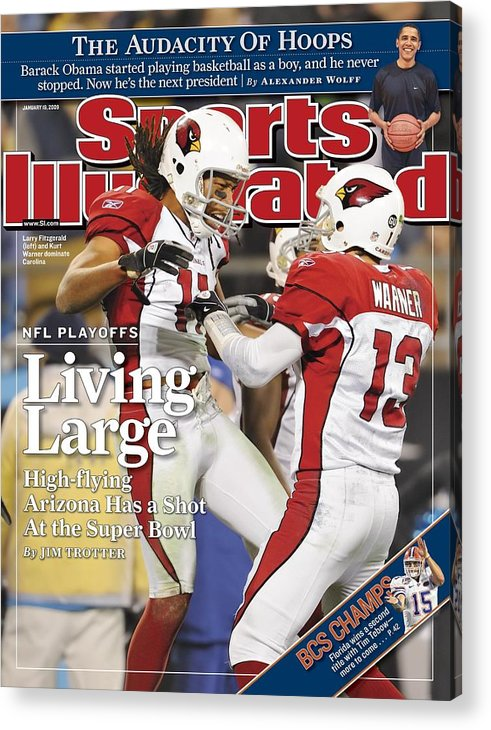 Larry Fitzgerald Acrylic Print featuring the photograph Arizona Cardinals Larry Fitzgerald, 2009 Nfc Divisional Sports Illustrated Cover by Sports Illustrated