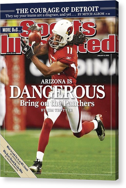 Larry Fitzgerald Acrylic Print featuring the photograph Arizona Cardinals Larry Fitzgerald, 2009 Nfc Wild Card Sports Illustrated Cover by Sports Illustrated