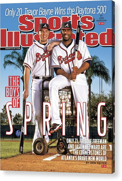 Magazine Cover Acrylic Print featuring the photograph Atlanta Braves Freddie Freeman And Jason Heyward Sports Illustrated Cover by Sports Illustrated