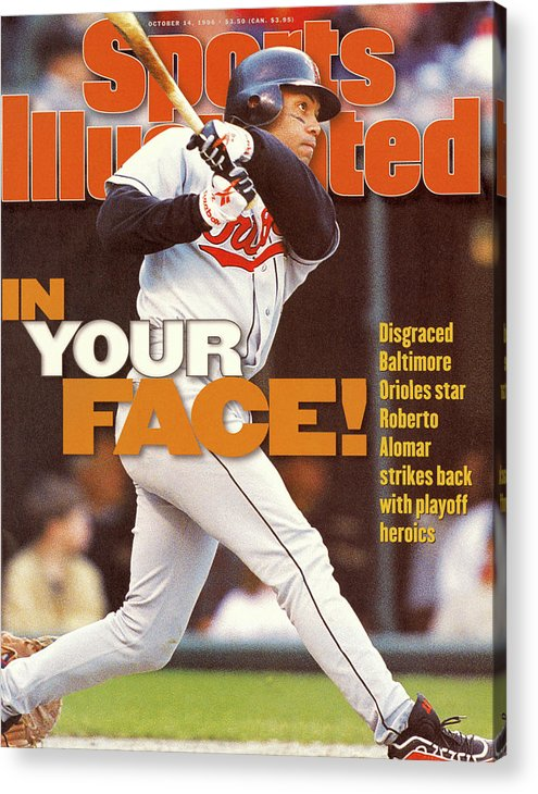 Magazine Cover Acrylic Print featuring the photograph Baltimore Orioles Roberto Alomar, 1996 American League Sports Illustrated Cover by Sports Illustrated