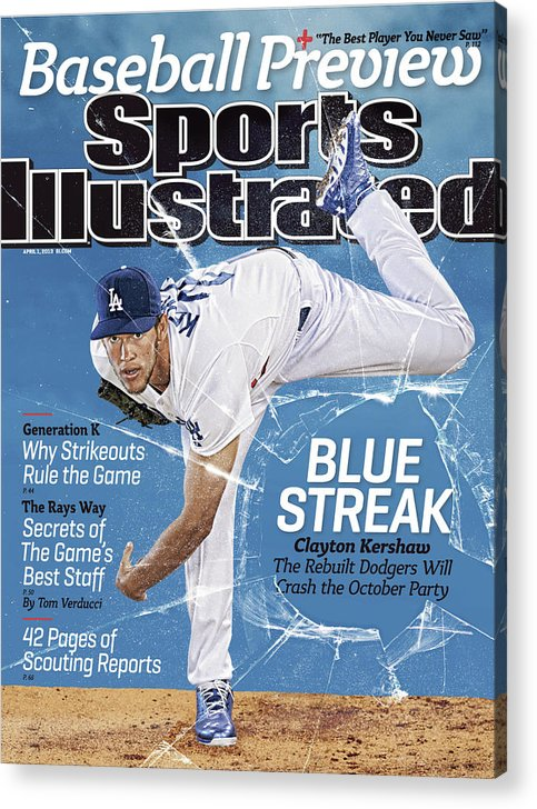 Magazine Cover Acrylic Print featuring the photograph Blue Streak, 2013 Mlb Baseball Preview Issue Sports Illustrated Cover by Sports Illustrated