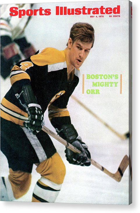 Playoffs Acrylic Print featuring the photograph Boston Bruins Bobby Orr, 1970 Nhl Eastern Division Sports Illustrated Cover by Sports Illustrated