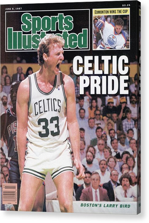 Playoffs Acrylic Print featuring the photograph Boston Celtics Larry Bird, 1987 Nba Eastern Conference Sports Illustrated Cover by Sports Illustrated