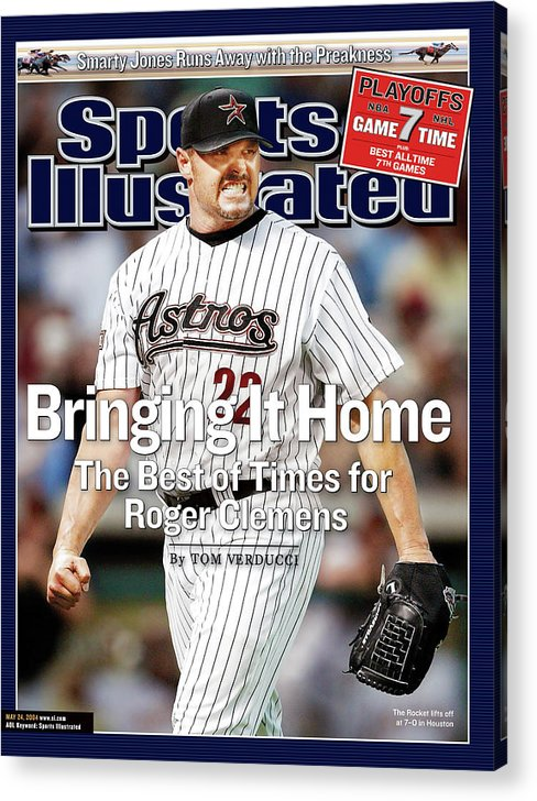 Magazine Cover Acrylic Print featuring the photograph Bringing It Home The Best Of Times For Roger Clemens Sports Illustrated Cover by Sports Illustrated