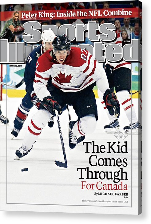 The Olympic Games Acrylic Print featuring the photograph Canada Sidney Crosby, 2010 Winter Olympics Sports Illustrated Cover by Sports Illustrated