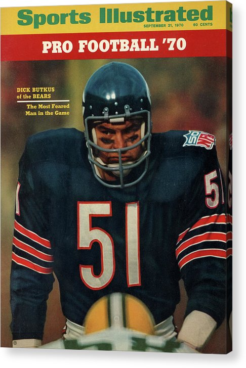American Football Acrylic Print featuring the photograph Chicago Bears Dick Butkus, 1970 Nfl Football Preview Issue Sports Illustrated Cover by Sports Illustrated