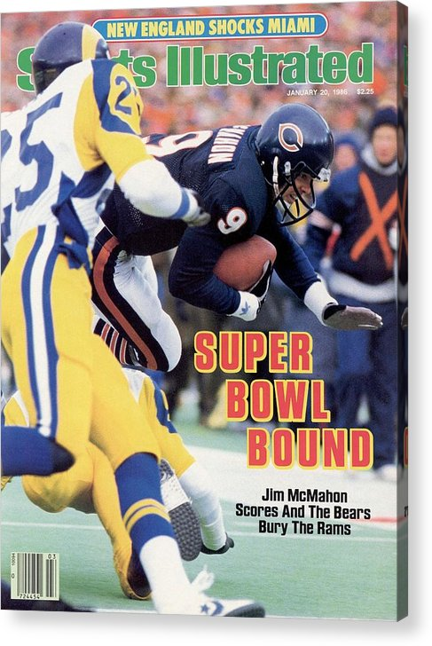 Magazine Cover Acrylic Print featuring the photograph Chicago Bears Qb Jim Mcmahon, 1986 Nfc Championship Sports Illustrated Cover by Sports Illustrated
