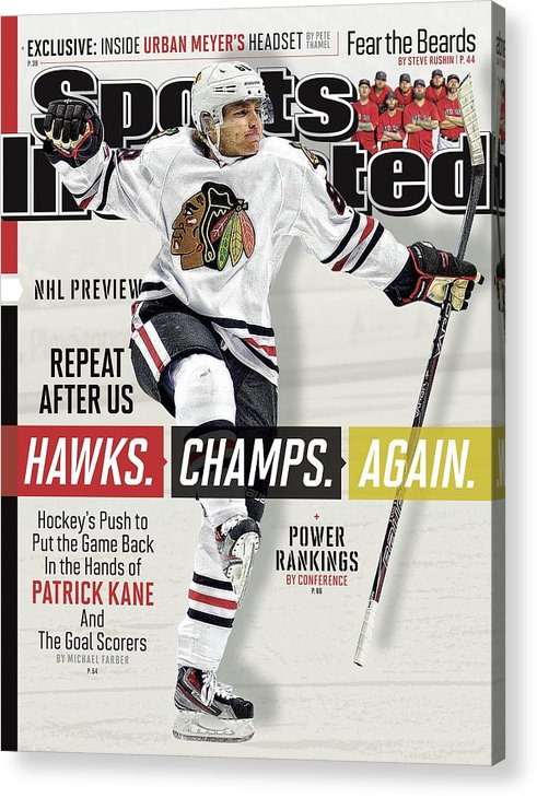 Magazine Cover Acrylic Print featuring the photograph Chicago Blackhawks Patrick Kane, 2013-14 Nhl Hockey Season Sports Illustrated Cover by Sports Illustrated