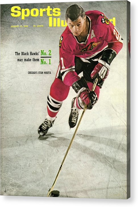 People Acrylic Print featuring the photograph Chicago Blackhawks Stan Mikita... Sports Illustrated Cover by Sports Illustrated