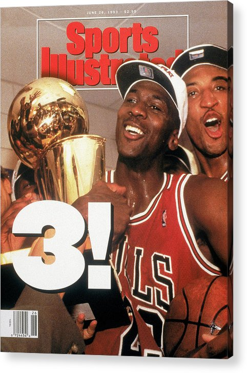 Magazine Cover Acrylic Print featuring the photograph Chicago Bulls Michael Jordan, 1993 Nba Finals Sports Illustrated Cover by Sports Illustrated