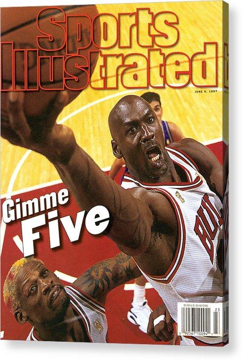 Magazine Cover Acrylic Print featuring the photograph Chicago Bulls Michael Jordan, 1997 Nba Finals Sports Illustrated Cover by Sports Illustrated