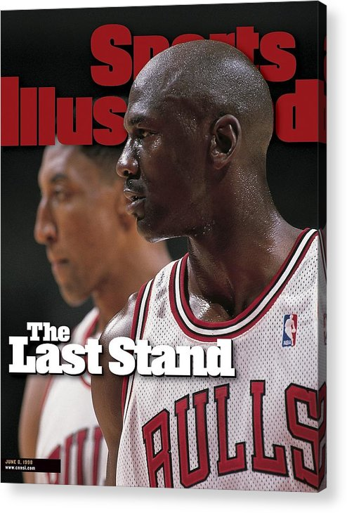 Playoffs Acrylic Print featuring the photograph Chicago Bulls Michael Jordan And Scottie Pippen, 1998 Nba Sports Illustrated Cover by Sports Illustrated