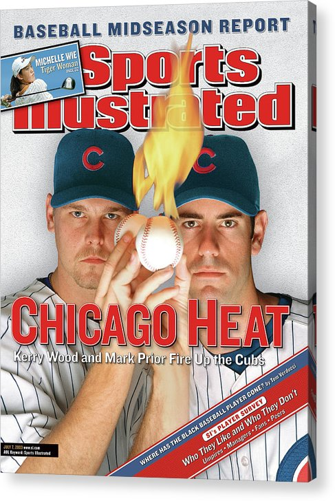 Kerry Wood Acrylic Print featuring the photograph Chicago Heat Kerry Wood And Mark Prior Fire Up The Cubs Sports Illustrated Cover by Sports Illustrated
