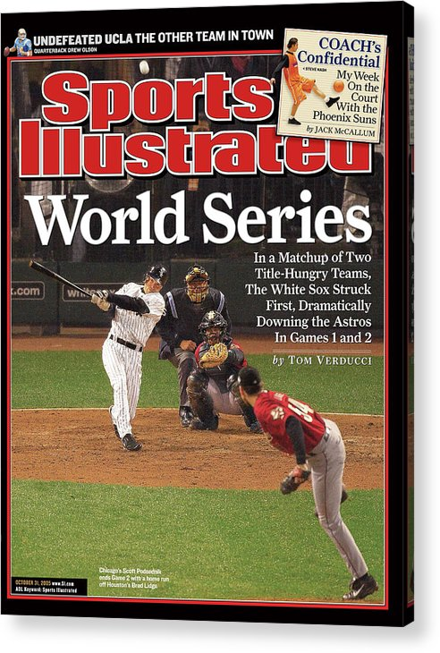 Magazine Cover Acrylic Print featuring the photograph Chicago White Sox Scott Podsednik, 2005 World Series Sports Illustrated Cover by Sports Illustrated