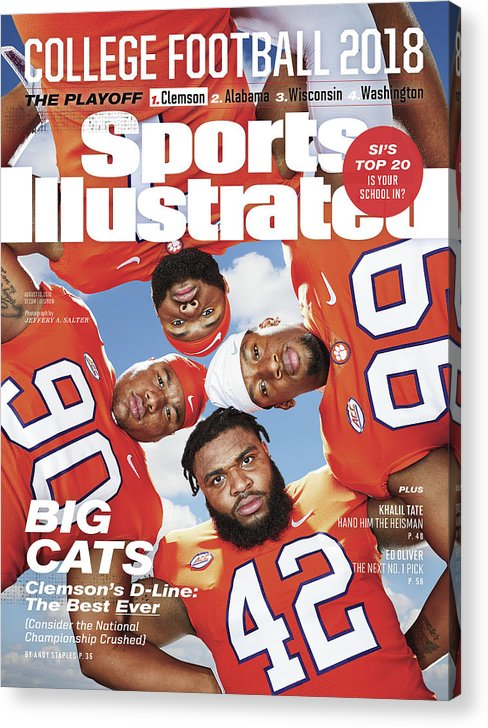 Season Acrylic Print featuring the photograph Clemson University Defensive Line, 2018 College Football Sports Illustrated Cover by Sports Illustrated