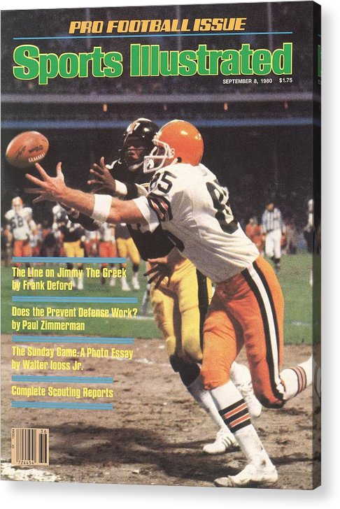Catching Acrylic Print featuring the photograph Cleveland Browns Dave Logan And Pittsburgh Steelers Mel Sports Illustrated Cover by Sports Illustrated