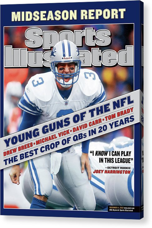 Magazine Cover Acrylic Print featuring the photograph Detroit Lions Qb Joey Harrington... Sports Illustrated Cover by Sports Illustrated