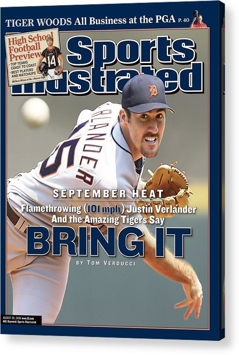 Magazine Cover Acrylic Print featuring the photograph Detroit Tigers Justin Verlander... Sports Illustrated Cover by Sports Illustrated
