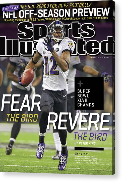 Magazine Cover Acrylic Print featuring the photograph Fear The Bird, Revere The Bird Super Bowl Xlvii Champs Sports Illustrated Cover by Sports Illustrated