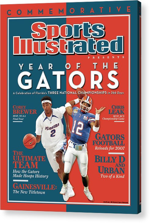 Magazine Cover Acrylic Print featuring the photograph Floridas Corey Brewer And Qb Chris Leak, Florida Gators Sports Illustrated Cover by Sports Illustrated