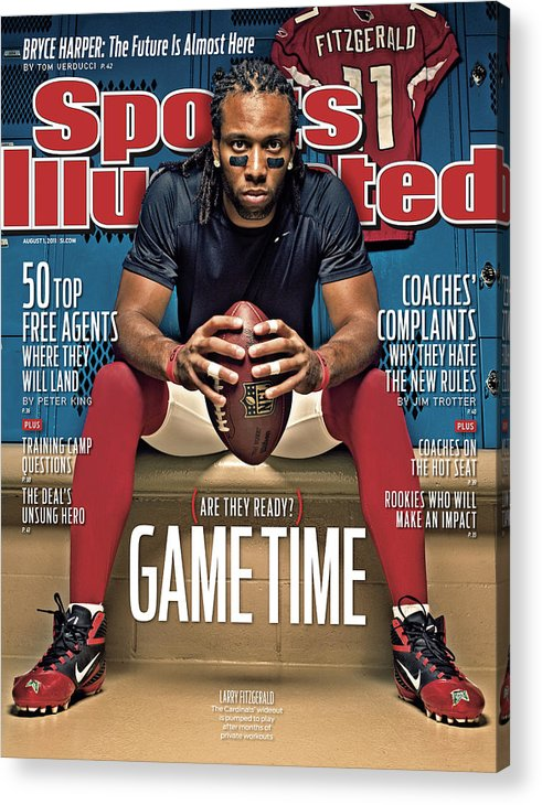 Larry Fitzgerald Acrylic Print featuring the photograph Gametime Are They Ready Sports Illustrated Cover by Sports Illustrated