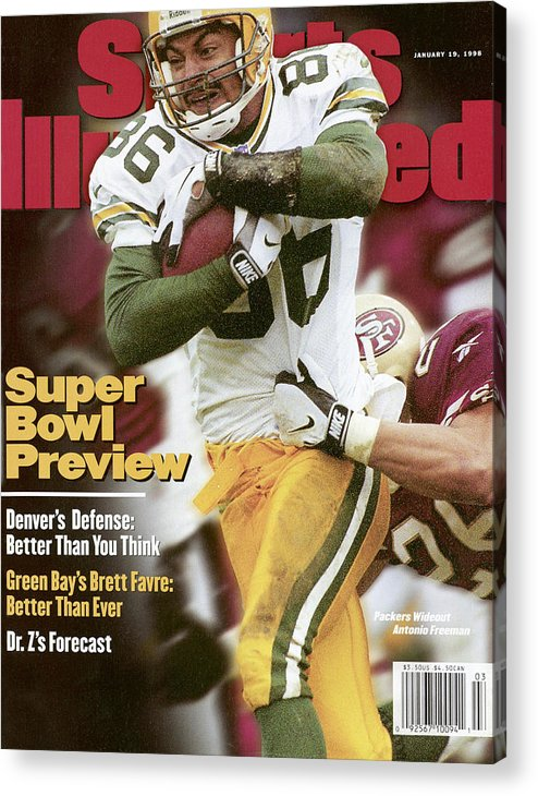 Candlestick Park Acrylic Print featuring the photograph Green Bay Packers Antonio Freeman, 1998 Nfc Championship Sports Illustrated Cover by Sports Illustrated
