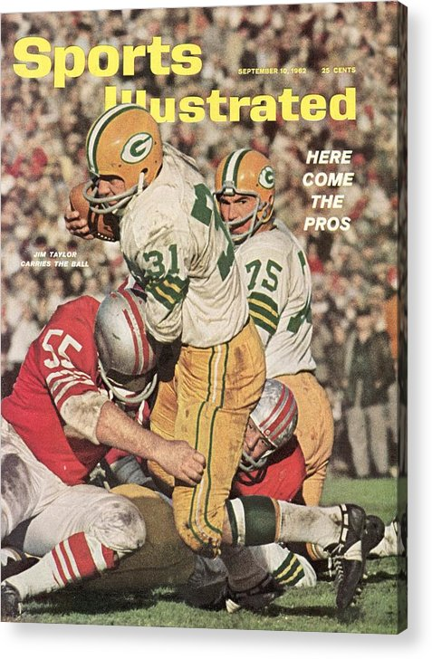 Magazine Cover Acrylic Print featuring the photograph Green Bay Packers Jim Taylor And Forrest Gregg Sports Illustrated Cover by Sports Illustrated