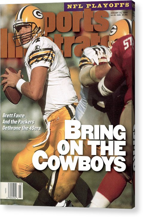 Candlestick Park Acrylic Print featuring the photograph Green Bay Packers Qb Brett Favre, 1996 Nfc Divisional Sports Illustrated Cover by Sports Illustrated