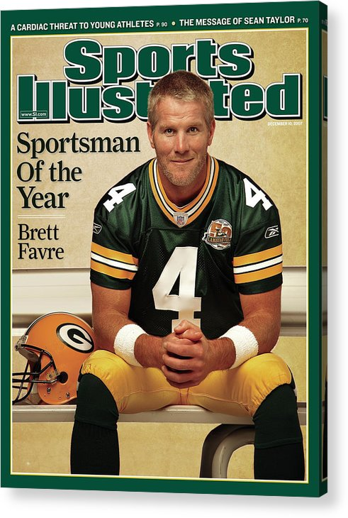 Magazine Cover Acrylic Print featuring the photograph Green Bay Packers Qb Brett Favre, 2007 Sportsman Of The Year Sports Illustrated Cover by Sports Illustrated