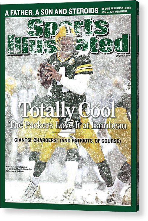Playoffs Acrylic Print featuring the photograph Green Bay Packers Qb Brett Favre, 2008 Nfc Divisional Sports Illustrated Cover by Sports Illustrated