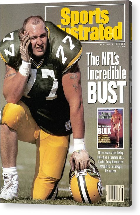 Green Bay Acrylic Print featuring the photograph Green Bay Packers Tony Mandarich... Sports Illustrated Cover by Sports Illustrated
