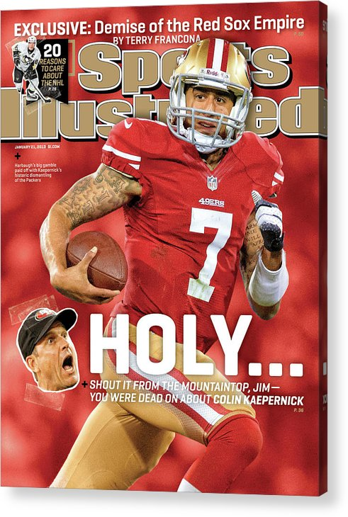 Candlestick Park Acrylic Print featuring the photograph Holy . . . Colin Kaepernick Of The San Francisco 49ers Sports Illustrated Cover by Sports Illustrated