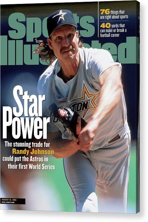 Sports Illustrated Acrylic Print featuring the photograph Houston Astros Randy Johnson... Sports Illustrated Cover by Sports Illustrated