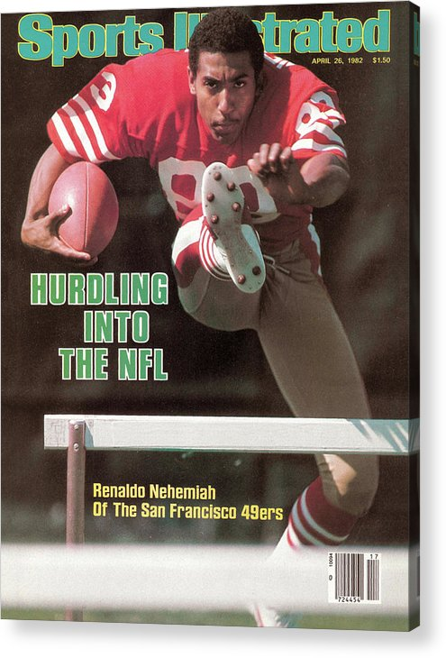 Candlestick Park Acrylic Print featuring the photograph Hurdling Into The Nfl Renaldo Nehemiah Of The San Francisco Sports Illustrated Cover by Sports Illustrated