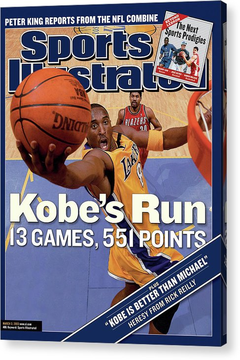 Magazine Cover Acrylic Print featuring the photograph Kobes Run 13 Games, 551 Points Sports Illustrated Cover by Sports Illustrated