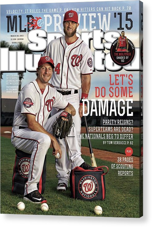 Magazine Cover Acrylic Print featuring the photograph Lets Do Some Damage 2015 Mlb Baseball Preview Issue Sports Illustrated Cover by Sports Illustrated