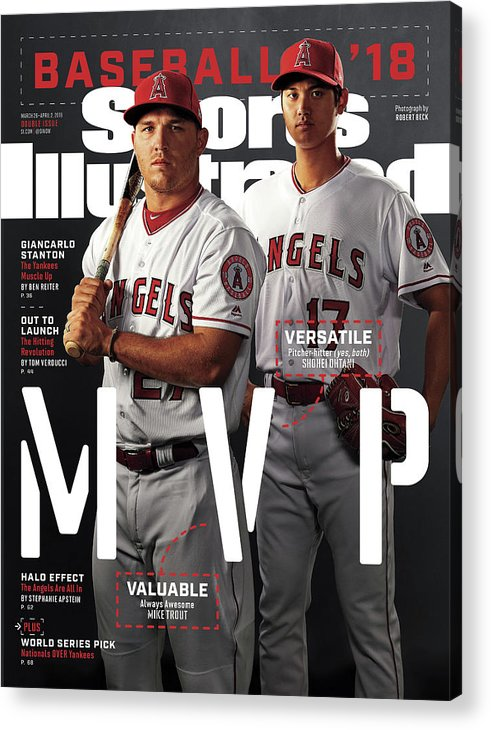 Tempe Diablo Stadium Acrylic Print featuring the photograph Los Angeles Angels Of Anaheim Mike Trout And Shohei Ohtani Sports Illustrated Cover by Sports Illustrated