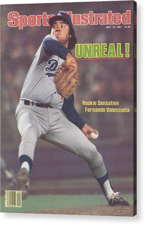 Magazine Cover Acrylic Print featuring the photograph Los Angeles Dodgers Fernando Valenzuela... Sports Illustrated Cover by Sports Illustrated