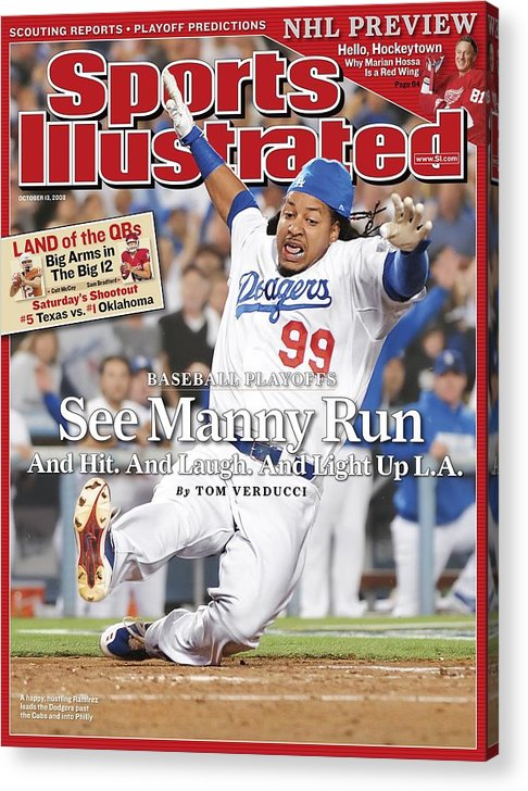 Magazine Cover Acrylic Print featuring the photograph Los Angeles Dodgers Manny Ramirez, 2008 Nl Division Series Sports Illustrated Cover by Sports Illustrated