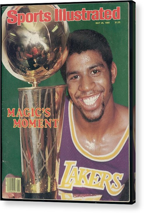 Magazine Cover Acrylic Print featuring the photograph Los Angeles Lakers Earvin Magic Johnson, 1980 Nba Finals Sports Illustrated Cover by Sports Illustrated